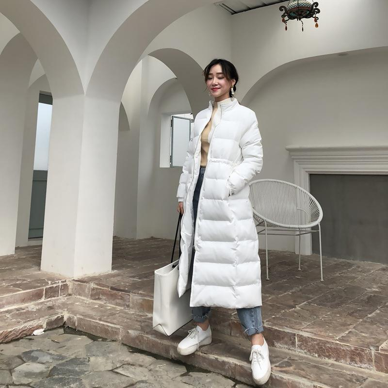 Winter 2018 new female temperament Korean version of loose show thin pure color bread cotton-padded suit long belt waist coat
