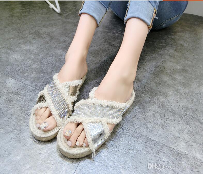 Women summer Slippers Sexy Classic Luxury Rhinestone Tassel Genuine Leather fashion brand current ladies Flat Beach flip flops slippers