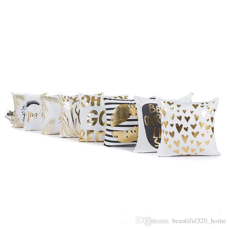 Gold Geometric Printed Pillow Covers 48 Patterns Fashion Sofa Cushion Covers Online Shopping Fashion Home Decorative Pillowcase BH18010