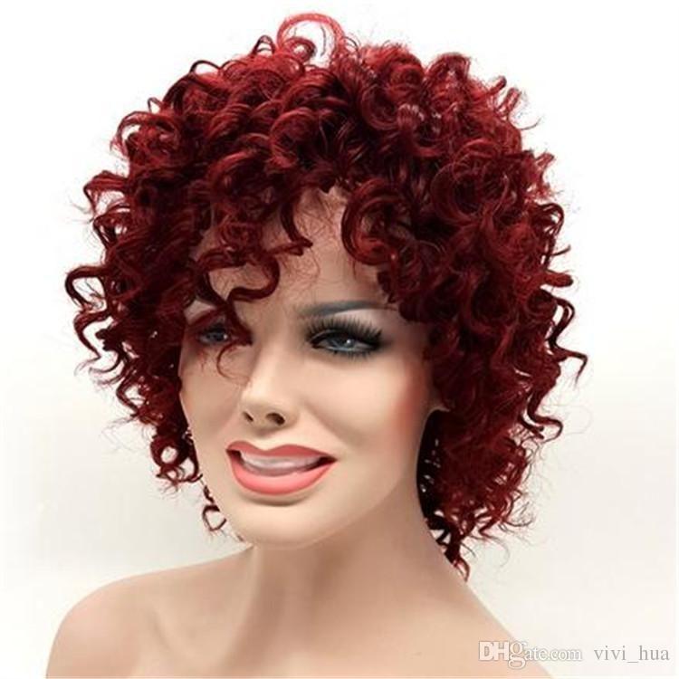 Compre Rihanna s Same Hairstyle Afro Kinky Curly Pelucas Cortas Para  Mujeres Negras Borgoña 15 Pulgadas Vino Rojo Pelo Sintético Pelucas  Perruque Afro A ... de82fa330141