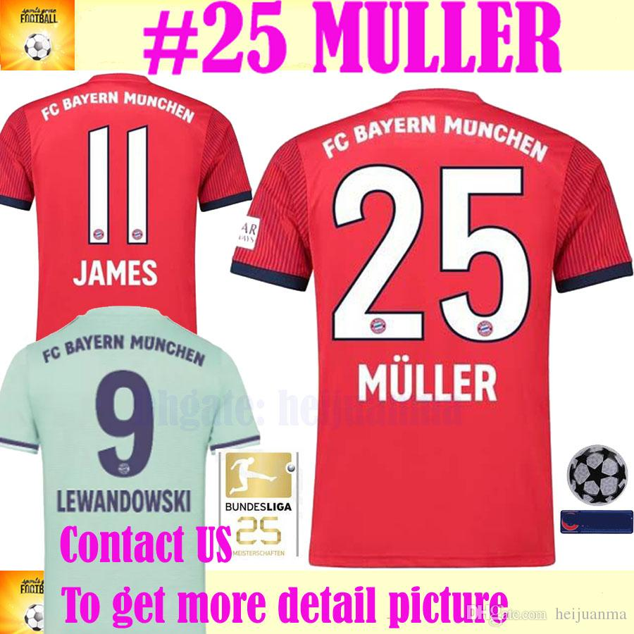 info for ad740 6d062 2019 MULLER Bundesliga Soccer Bayern Munich Jersey Men 9 LEWANDOWSKI 10  ROBBEN 11 JAMES 25 MULLER 18 19 Football Shirt Kits Red Green