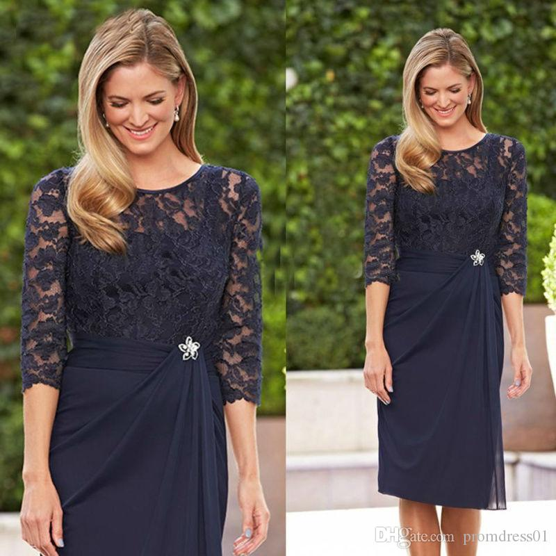 Hot Selling Knee Length Navy Blue Lace 3/4 Sleeves Mother of the Bride Dresses In Stock with Rhinestone Waist