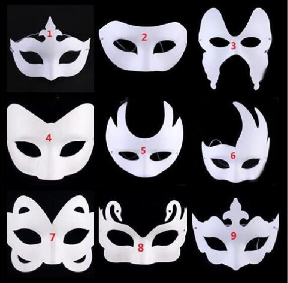 Satın Al Diy Boyama öz Portre Beyaz Boyasız Yüz Maskesi Düz Boş