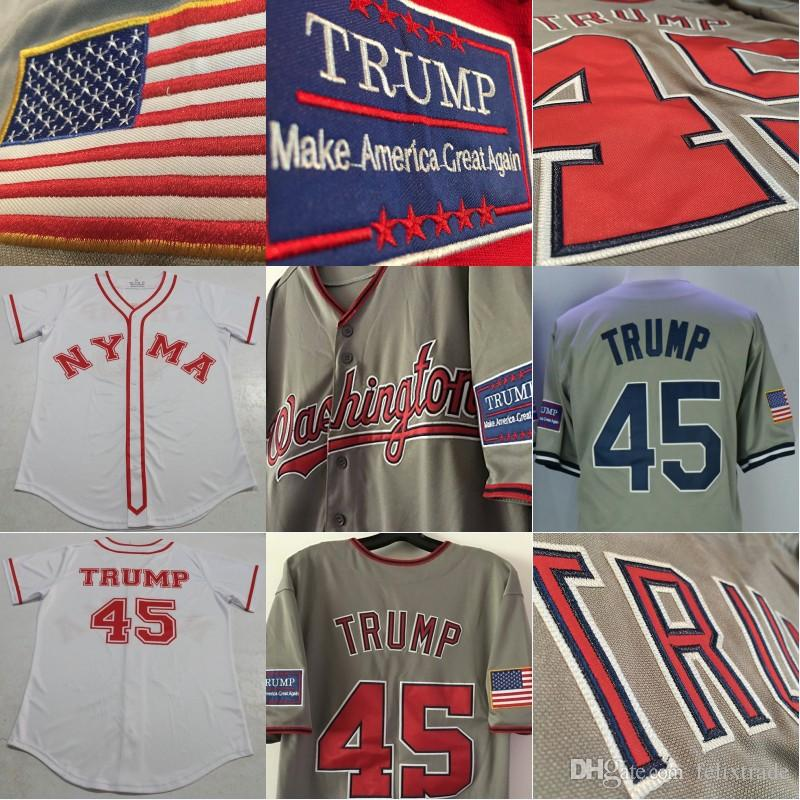 2019 TRUMP Jersey President Donald TRUMP  45 Baseball Jersey Washington  Retro 1964 NYMA Style White Grey Jerseys All Stiched From Felixtrade 49a808bbc