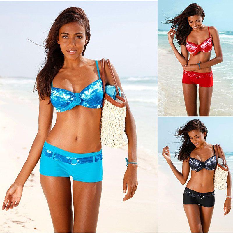 805aa731fd Wrap Push Up Boxer Shorts Sport Bikinis Sets Swimwear Underwire Pants For  Women Swimsuit Brazilian Beach Wear Bathing Suit S M L Women Swimsuit Beach  Wear ...