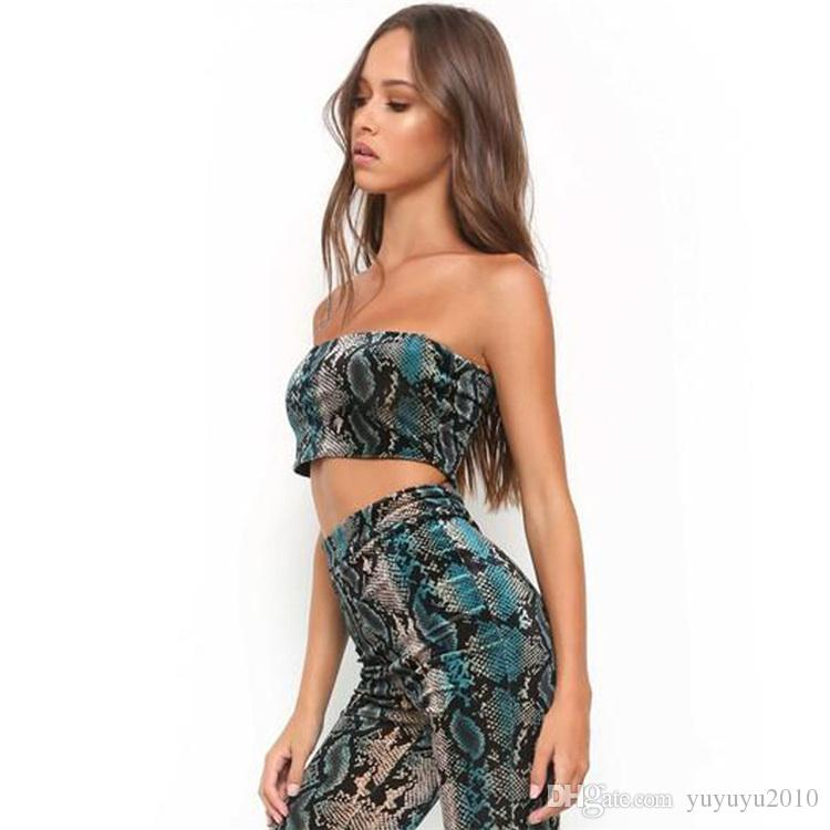 Sibybo New Sexy Snake Print Tank Top Women Off Shoulder New Fashion Crop Top Bandage Chest Wrap Camisole Sleeveless T-shirt 180324