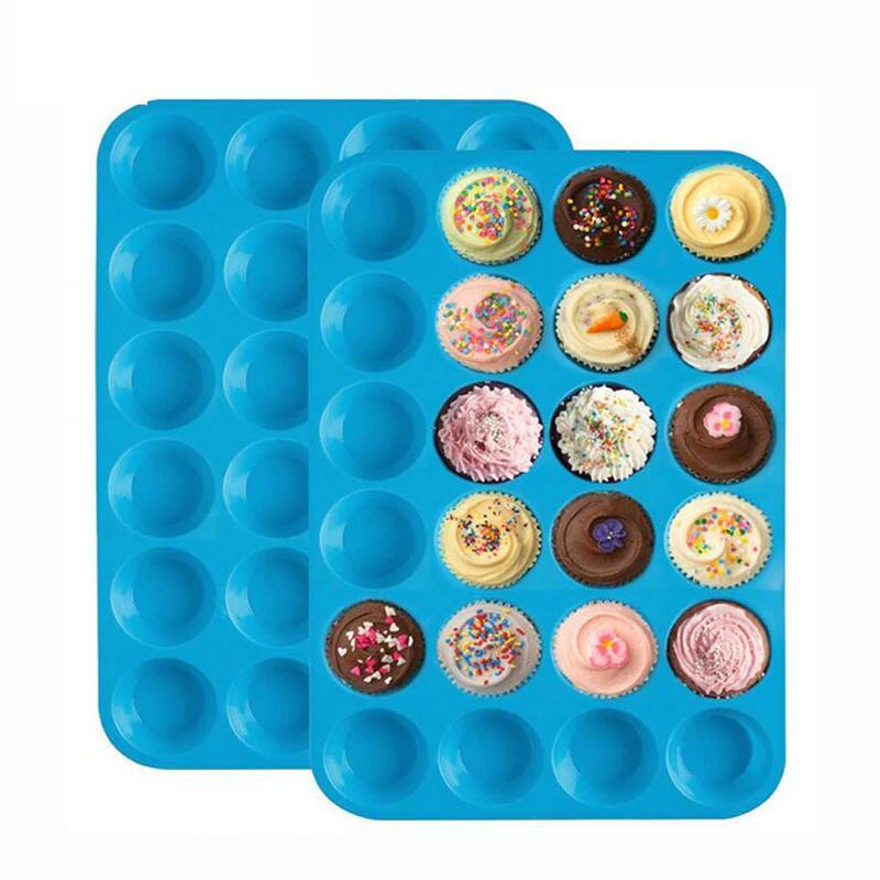 Compre mini muffin cake molde 24 cupcakes molde de silicona cake cupcake pancakes molde bandeja - Moldes cupcakes silicona ...