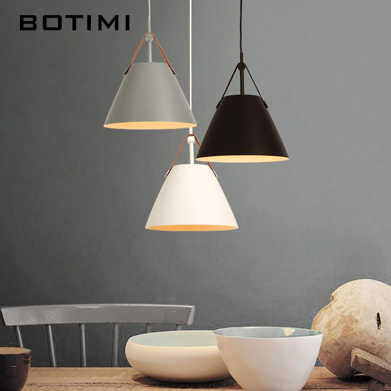 Botimi Led Pendant Lights E27 Hanging Kitchen Lamp Morden Dining Light With  Metal Lampshade Bulbs Iron Suspension Lighting Hanging Lights For Bedroom  ...