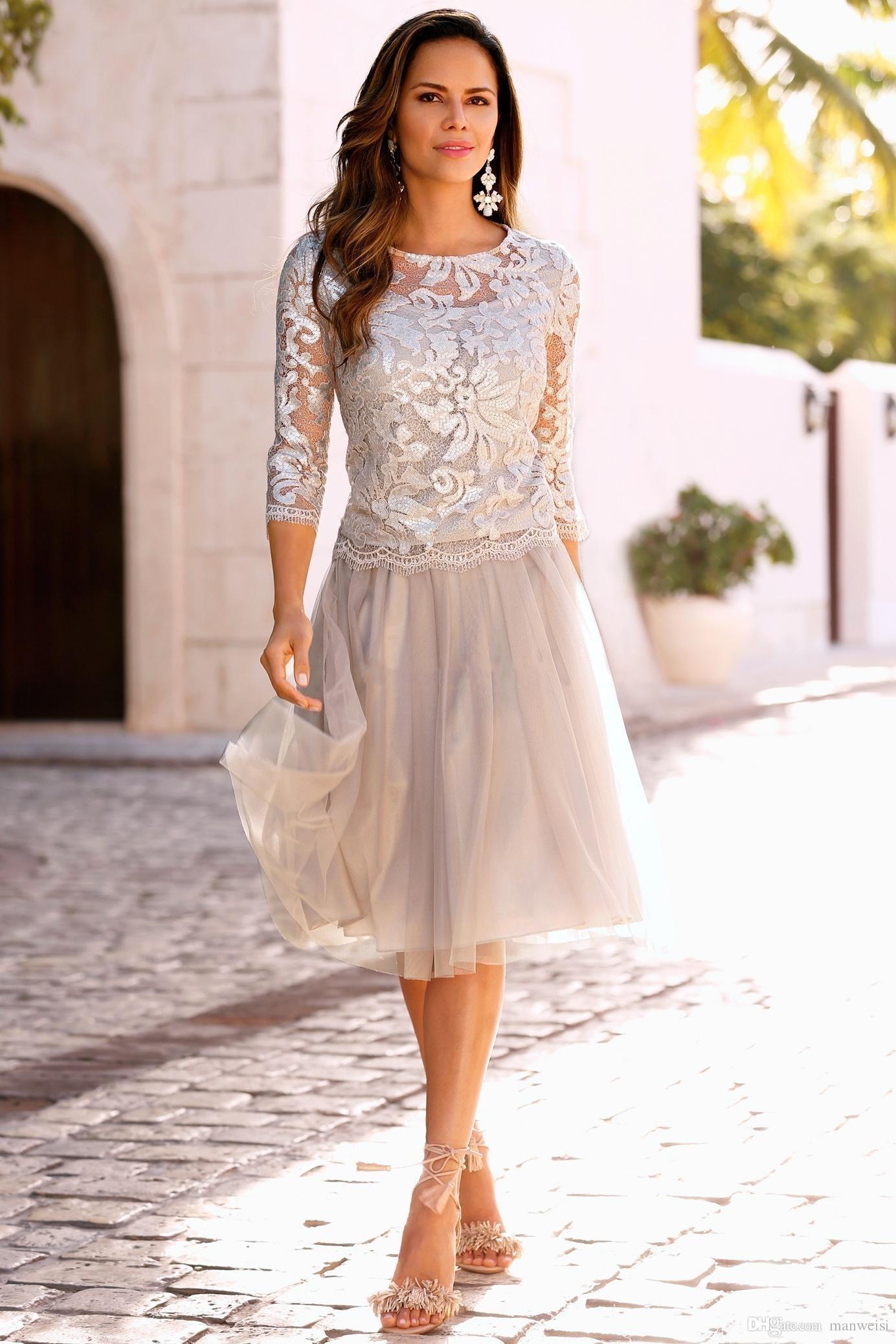 2018 Elegante Boho Mutter der Braut Kleider Spitze Tüll Knielänge 3/4 langen Ärmeln Hochzeitsgast Kleid Kurze Abendkleider