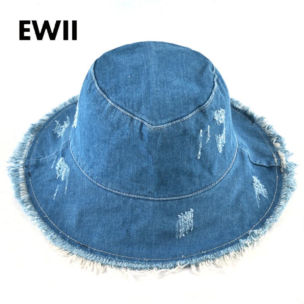 19a1137fdd988 Summer Wide Brim Caps Women Fedora Cowboy Bucket Hat Ladies Bob Sun ...