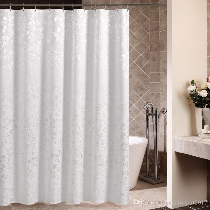 2018 White Polyester Mildew Resistant Shower Curtain Waterproof Bathroom Partition Multifunctional Curtains With 12 Hooks For Home Use From