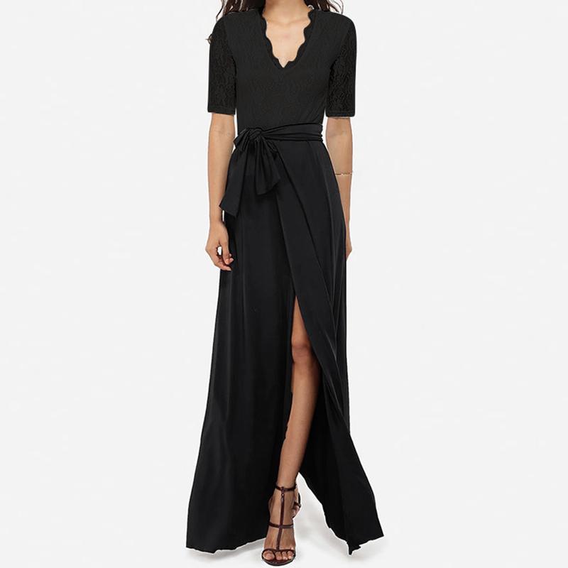 065d569636 New Women Sexy Maxi Long Party Dresses Patchwork Solid VNeck Lace Ladies  Casual Short Sleeve Split Lace Up Elegant Dress Vestido Dress Summer Dress  Online ...