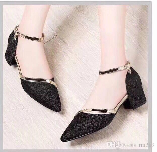 Free transmission of 2018 European and American latest fashion women's high heels leather shoes and leather shoes