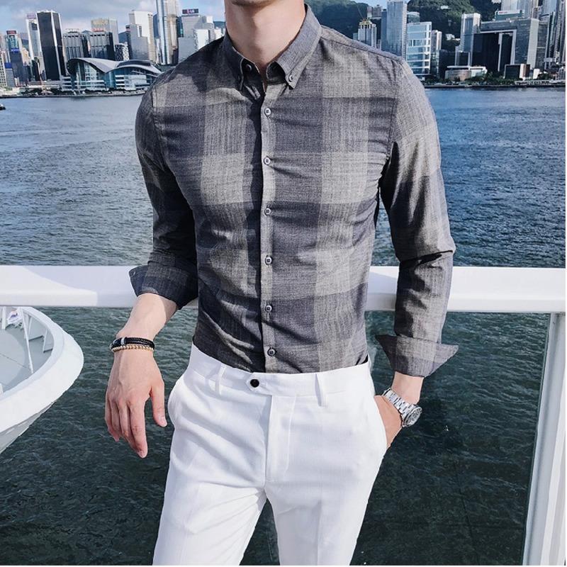 a89b91d50 2018 Spring New Men s Shirt Slim Fashion Office Dress Shirt Social Business  Casual Temperament Long-sleeved Plaid. Store-wide Discount