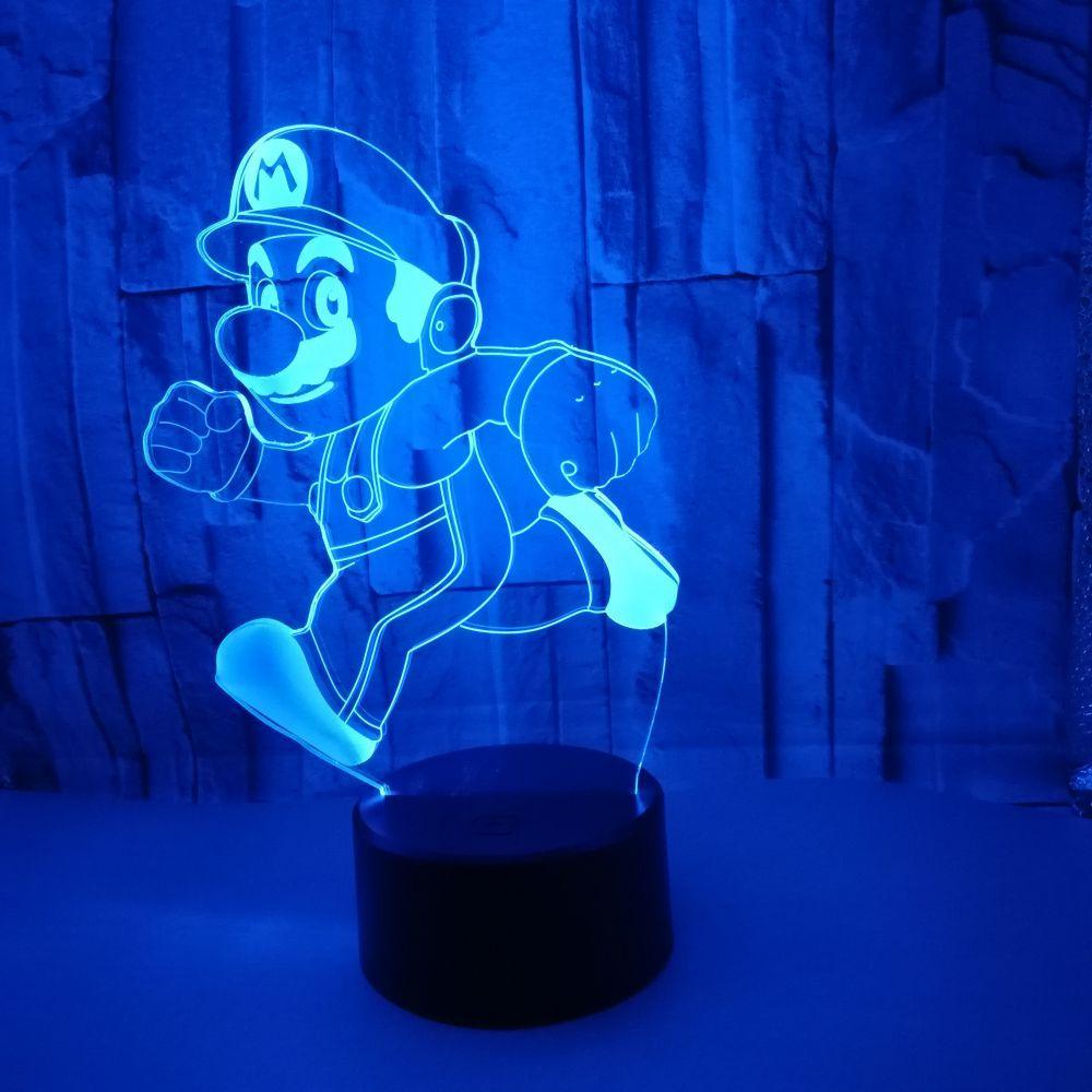 Courir Led Couleur En Toucher Usb Gros Veilleuse Mario Lampe 3d Table Bébé Pour Lampara Dropshipping Enfants 7 PXiZuk