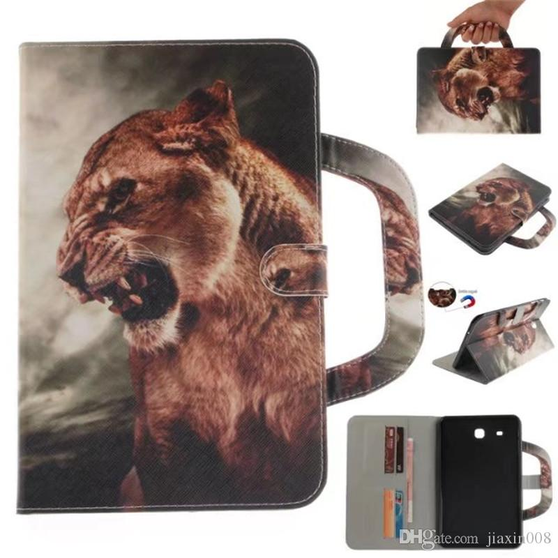 brand new bff3e 5b736 Tablet Case For Samsung Galaxy Tab E 9.6 T560 Handle Flip Cover Stand  Leather Wallet Coloured drawing Tiger Lion wolf Coque