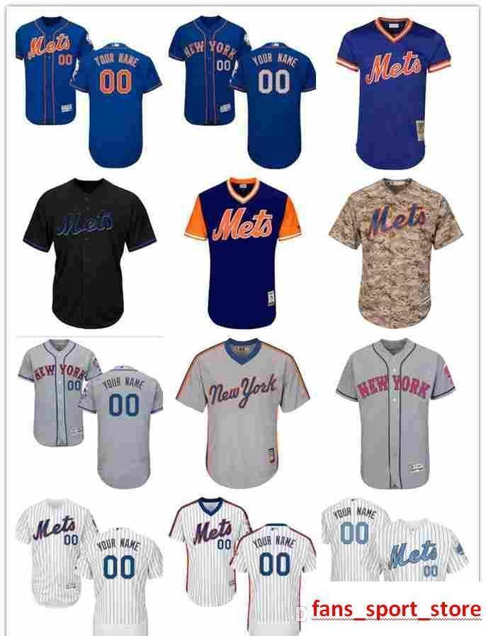 de3e8438c 2019 custom Men s women youth Majestic NY Mets Jersey  00 Any Your name and your  number Home Blue Grey White Kids Girls Baseball Jersey