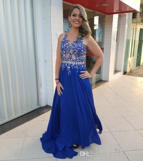 17412ef34 Beaded Jewel Neck Chiffon A Line Evening Dresses Royal Blue 2018 Sexy  Backless Evening Gowns Floor Length Prom Dresses Black Evening Dress Cheap  Evening ...