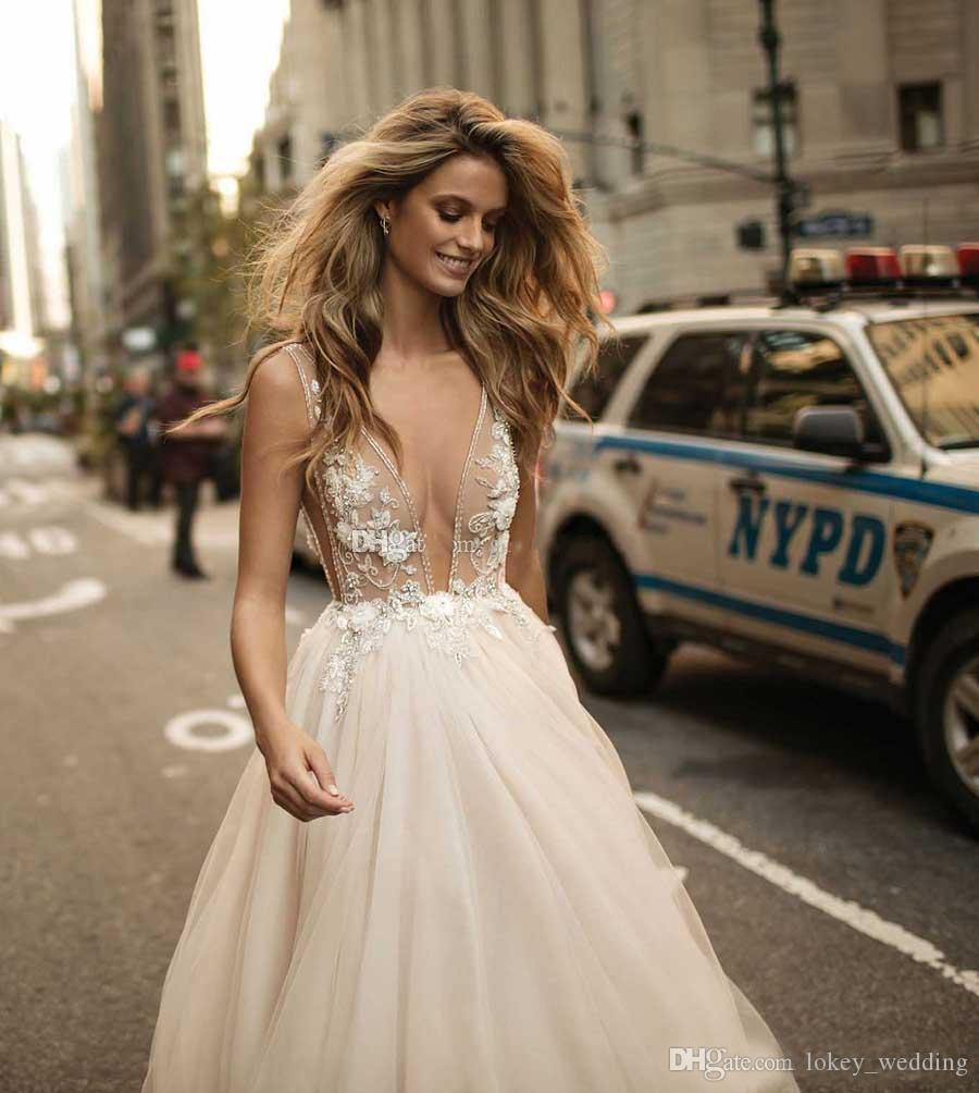 Berta Backless Wedding Dresses 2018 A-Line Tulle Lace Applique Deep V-Neck Straps Court Train Pearls Bridal Gown vestido de novia Custom