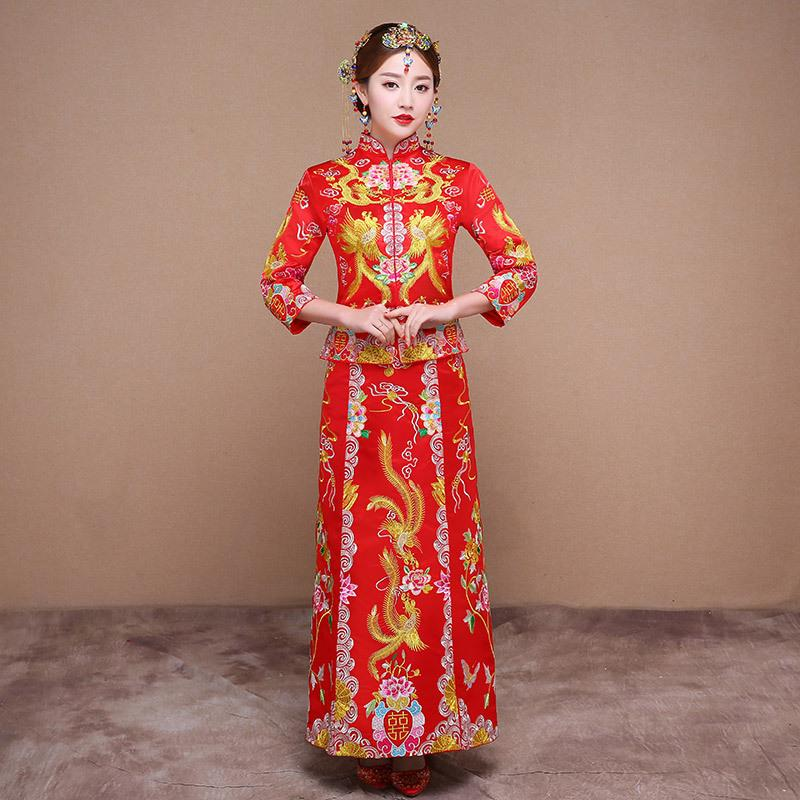 55d4901a5 2019 Chinese Traditional Dress Qipao Red Long Sleeve Cheongsam Embroidery  Oriental Dresses Wedding Gowns Robe Orientale Vestido Chino From  Apparelone, ...