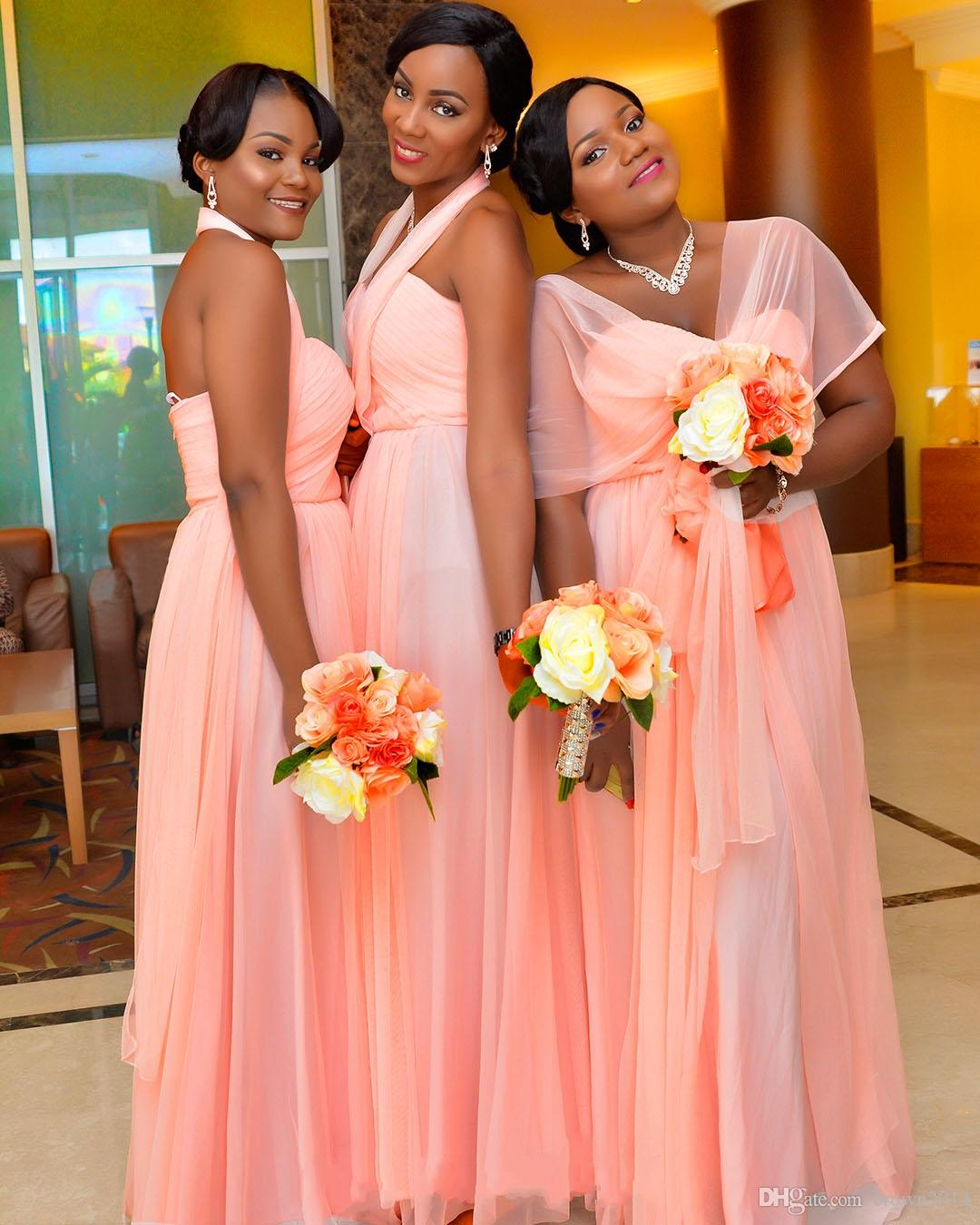 2020 Blush Pink Chiffon Long Bridesmaid Dresses Cheap Sweetheart Convertible Custom Made Formal Wear Gowns Plus Size Wedding Guest Dress