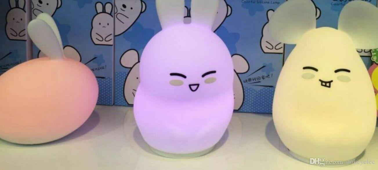 Creative LED Colorful soft Silica gel toy animal Cartoon bunny Night light child bedroom bedside light table lamp USB charger remote control