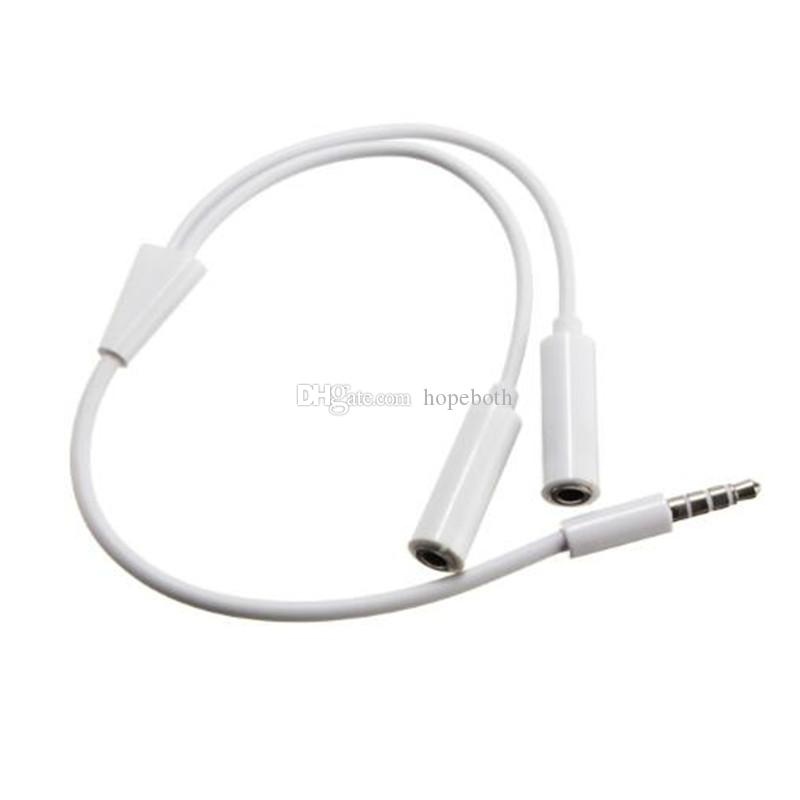 a0738a60423 Universal 3.5 Mm 1 Male To 2 Dual Female Headphone Audio Plug Y Splitter  Adapter Cable Earphone Headset Jack For Iphone Samsung HTC Mobile Cables  Mobile ...