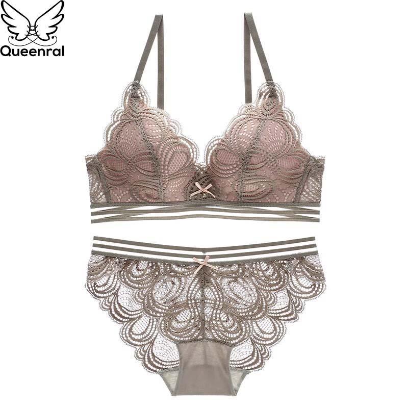 1584e29ca348 venta al por mayor Conjunto de sujetador de encaje sexy Empuje hacia arriba  Conjunto de ropa interior Lencería Mujeres Sujetador libre de alambre ...