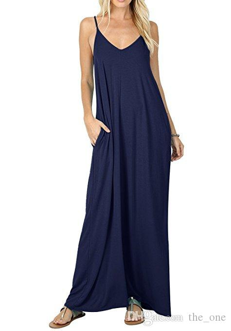 10Corlors New Pure Color Sling Long Dress with Pocket Solid Color Summer Dresses Maternity Dress Women Clothes Beach Maternity Dress