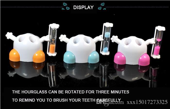 Le dessin animé brosse à dents salle de bains porte-brosse à dents 3 minutes sur l'horloge 4 trous ornements pour enfants créatifs