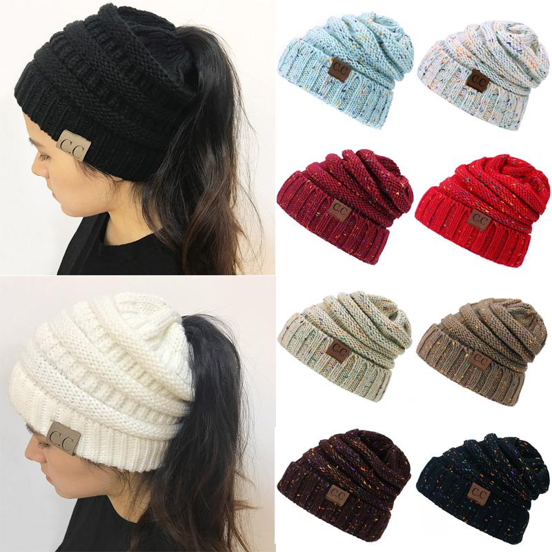 Drop Shipping Cc Ponytail Beanie Hats For Women Winter Cap Knitted Skullies  Beanies Warm Caps Female Knit Messy Bun Hats Soft Knit Cap Slouch Beanie  From ... e8d73c15db3