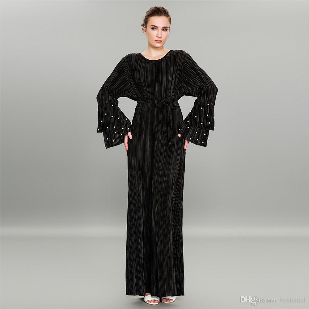 350250c05b New Arrival Wholesale Muslim pleated long sleeve beaded Dress S-3XL