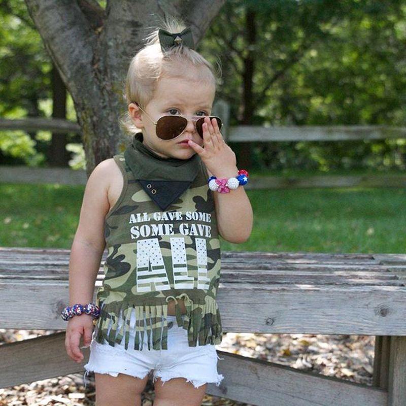 Baby Girls Clothing Sets Girl Camouflage Vest T-shirts + White Shorts Set 2018 Summer Kids Sleeveless tshirts Pants Suits