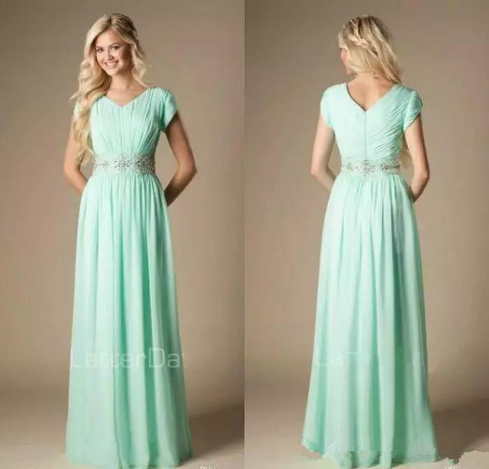 Modest Mint Green Country Bridesmaid Dresses Lace Beaded A-Line Formal Chiffon Maid of Honor Dresses Plus Size Informal Wedding Guest Gowns