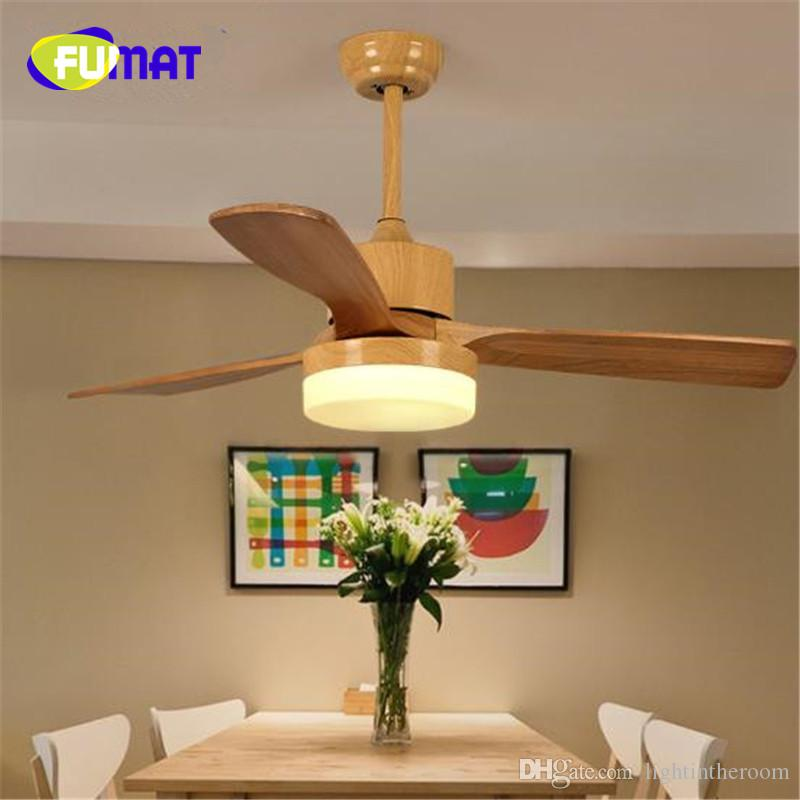 Fumat Led Ceiling Fans Crystal Light Dining Room Living: FUMAT Ceiling Fan LED Solid Wood Nordic Simple Wood Celing