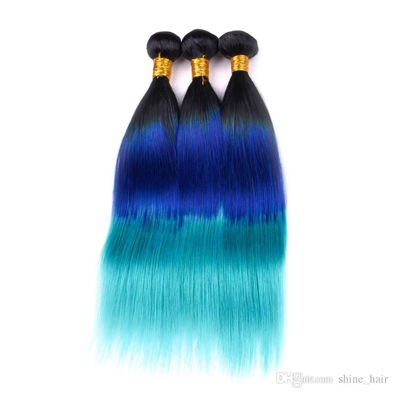 Silky Straight #1B/Blue/Teal Ombre 4x4 Lace Top Closure with Weaves Three Tone Ombre Virgin Brazilian Human Hair 3 Bundles with Closure