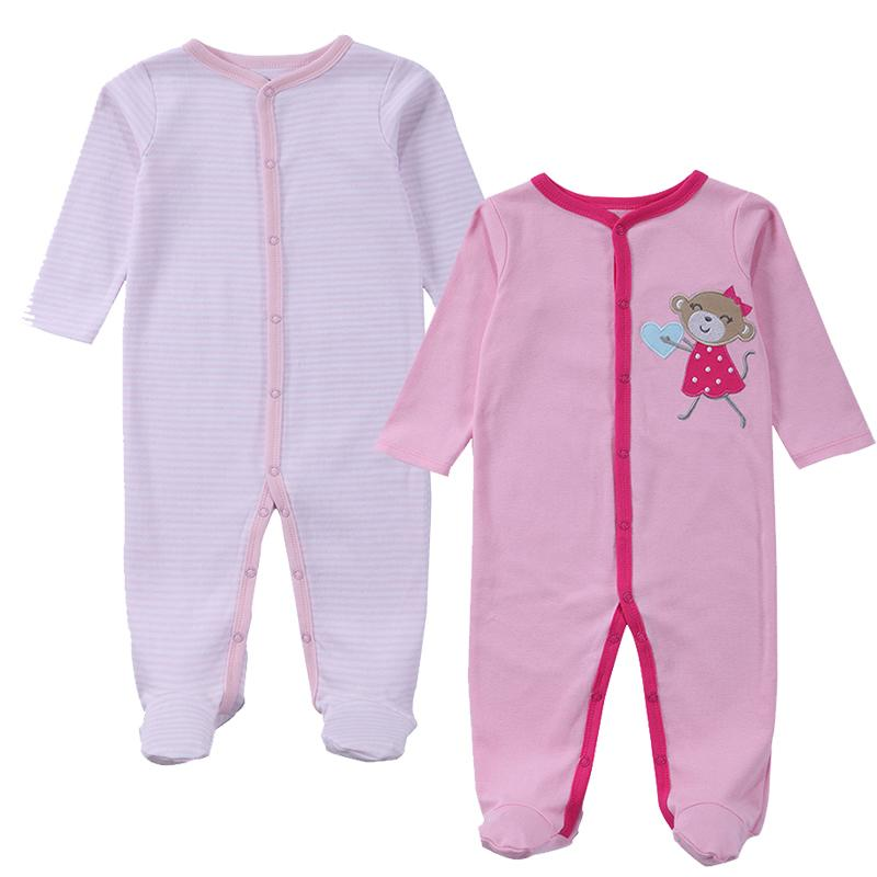 2018 Boy Girls Footed Romper Rompers 100 Cotton Sleep Play