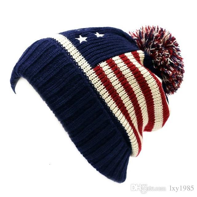 Winter Vintage Stars Stripe Knit USA Flag Beanie Skull Ski Pom Pom Hat Cap  Crochet Baby Hats Ladies Hats From Lxy1985 aed0709348f5