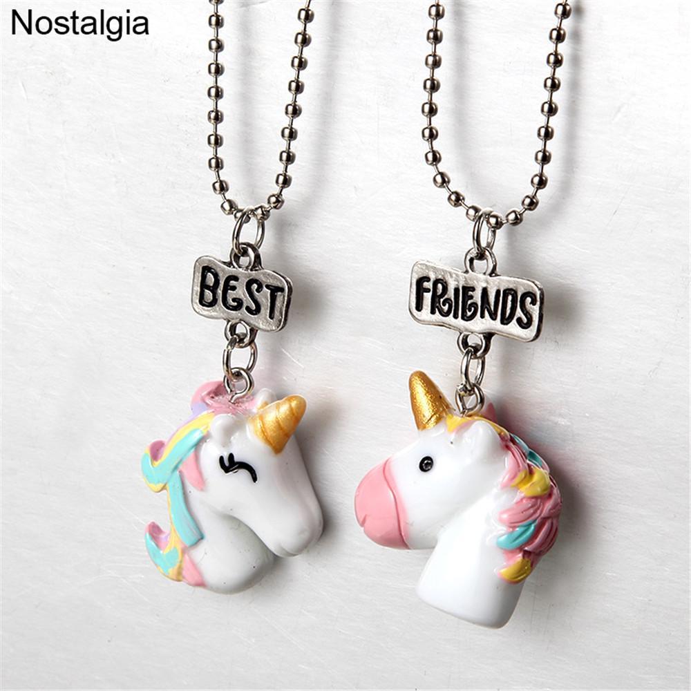 Wholesale Nostalgia Best Friends Resin Unicorn Pendant Bff