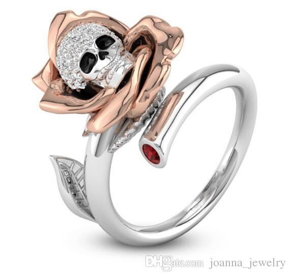 Punk Skeleton Rose Flower Finger Ring for Women Female Fashion Jewelry Inlaid Clear CZ Skull Engagement Wedding Rings Nice Gifts