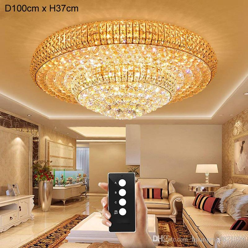 Remote Control LED 3 Brightness Crystal Ceiling Lights Fixture Lamps  Chandeliers Restaurant Lights Living Room Lamp Crystal Lights Ceiling Lights  Crystal ...