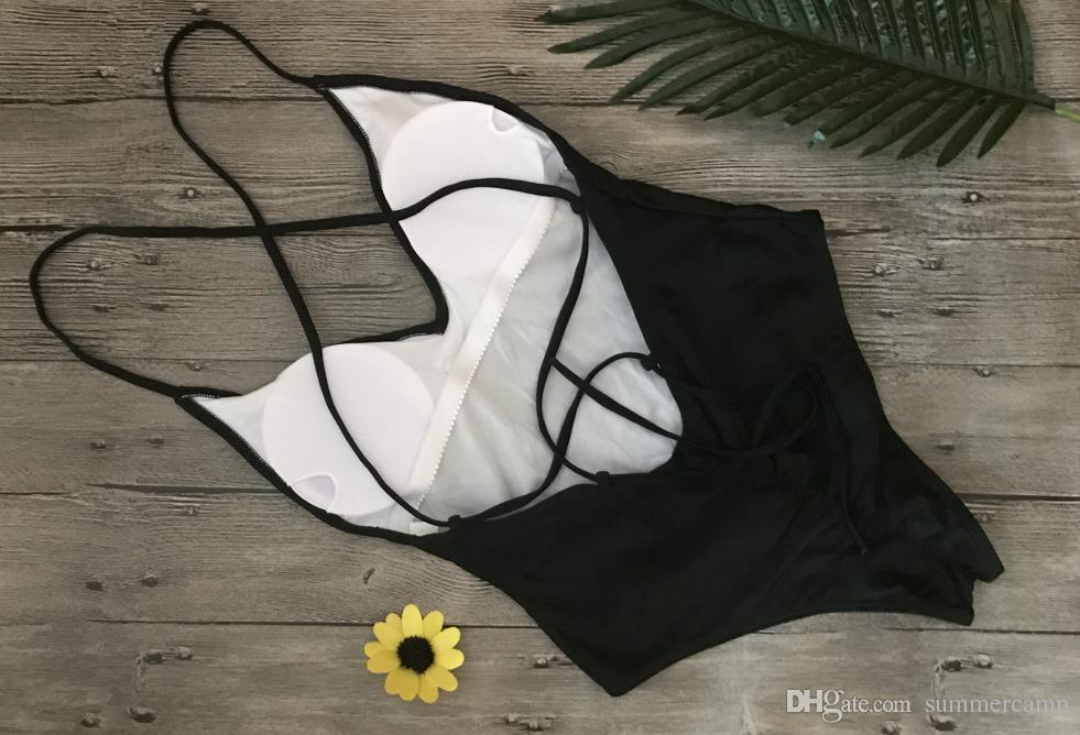 Ropa de verano Bikini para mujer sexy y puro Traje de baño Profundo V Hombros Colgando Traje de baño Estilo cabestro cruzado Material de poliéster
