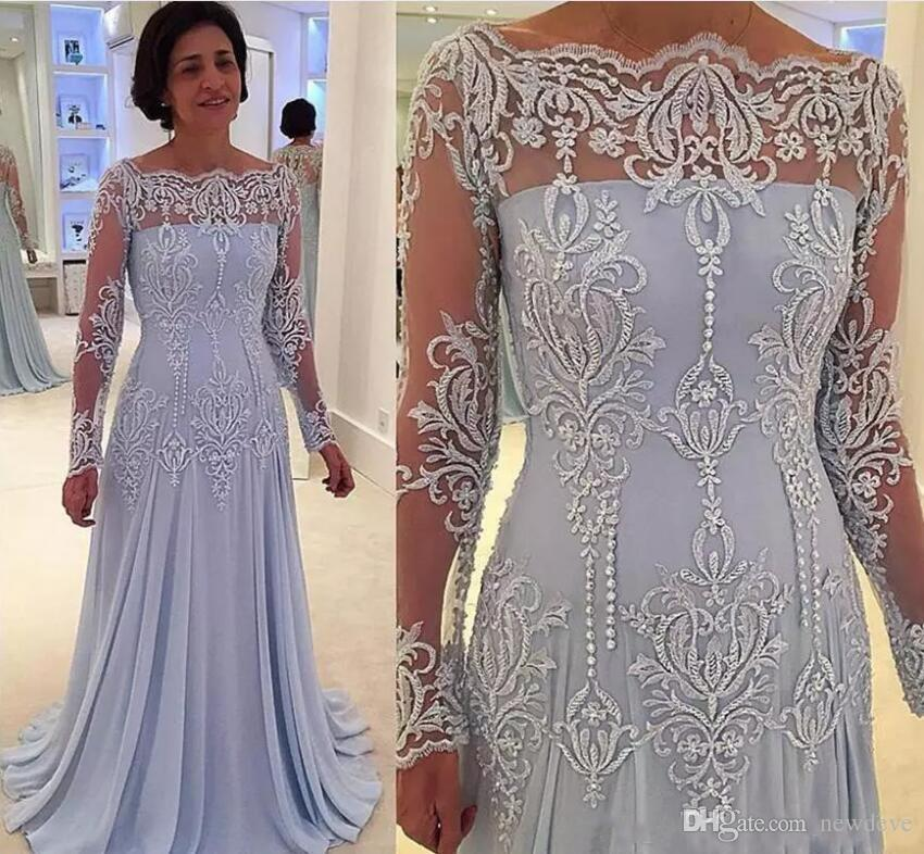 9277ed0bf46 2018 Lace Vintage Mother Of The Bride Dress Groom Beads Plus Size Formal  Chiffon Long Sleeves Prom Evening Dresses Mother Of The Groom Plus Size  Dresses ...
