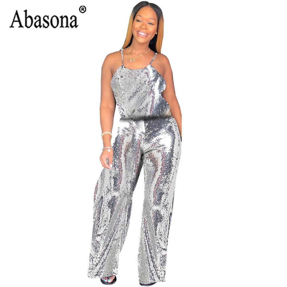 Acquista Abasona Sexy Argento Con Cinturino Con Paillettes Tuta Da Donna  Tuta Allentata Senza Maniche Backless Senza Maniche Tuta Da Notte Femminile  Outfit ... fdd552b2fe5