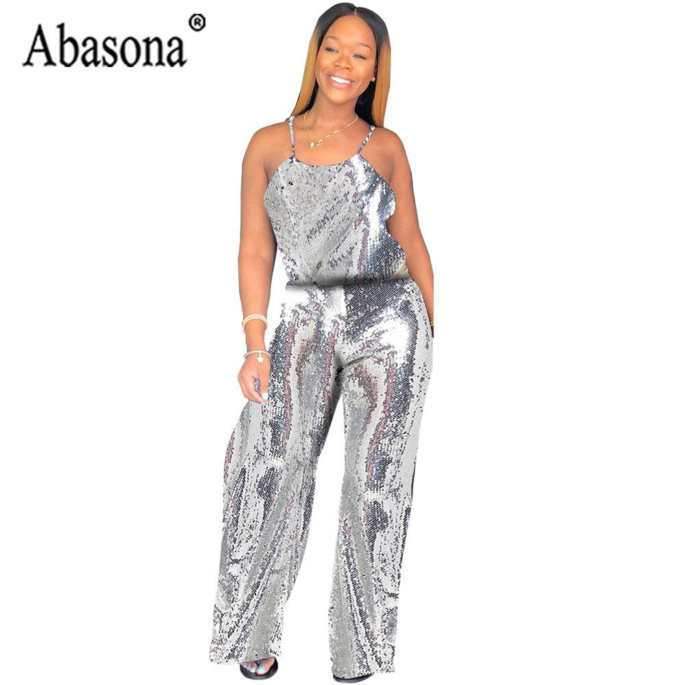 b9f0c871305 Abasona Sexy Silver Sequin Strap Jumpsuit Women Long Loose Jumpsuit  Backless Sleeveless Playsuit Female Nightclub Outfits Romper Canada 2019  From Worsted