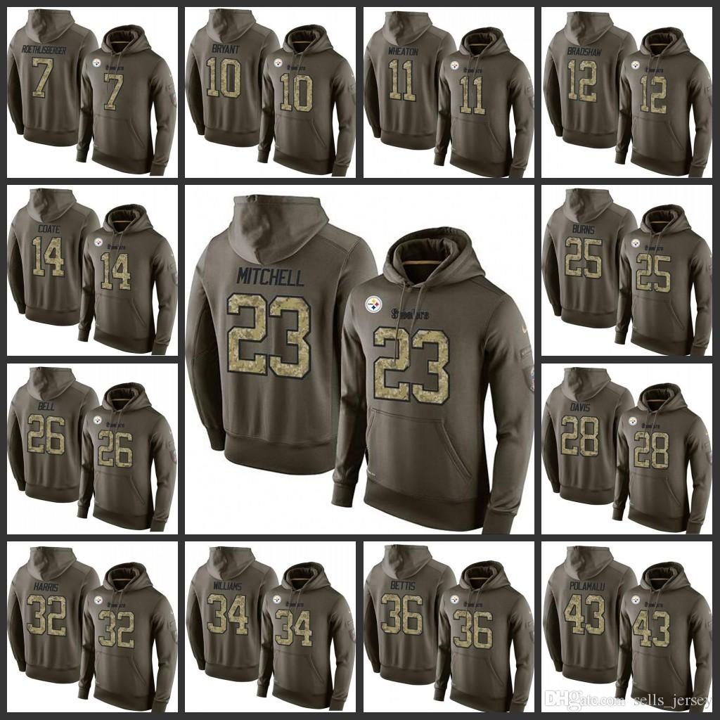 b7985daee Pittsburgh Steelers Embroidery Men  7 Ben Roethlisberger 26 Le Veon ...