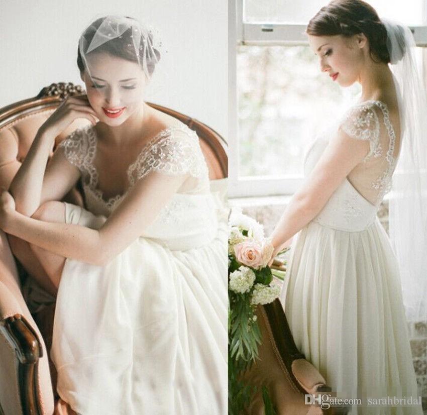 2021 Bohemian Lace Wedding Generoso Vestidos Open Back Chiffon mangas vestidos de noiva Trem da varredura Plus Size A-Line do partido do vestido de casamento baratos