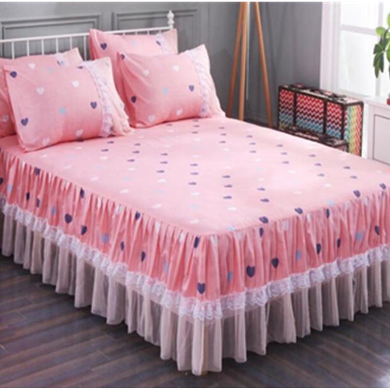 Luxury White Flower Bed Skirt Pillowcase Bed Set King Princess