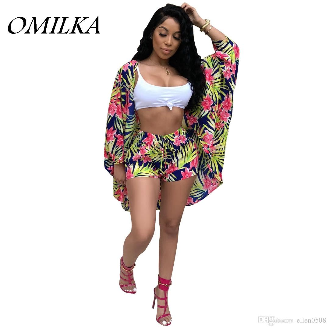 ae5187e4fcf Cheap OMILKA 2018 Summer Women Long Sleeve Floral Printed Cape Outwear And  Shorts Set Casual Loose Club Beach Clothing Set