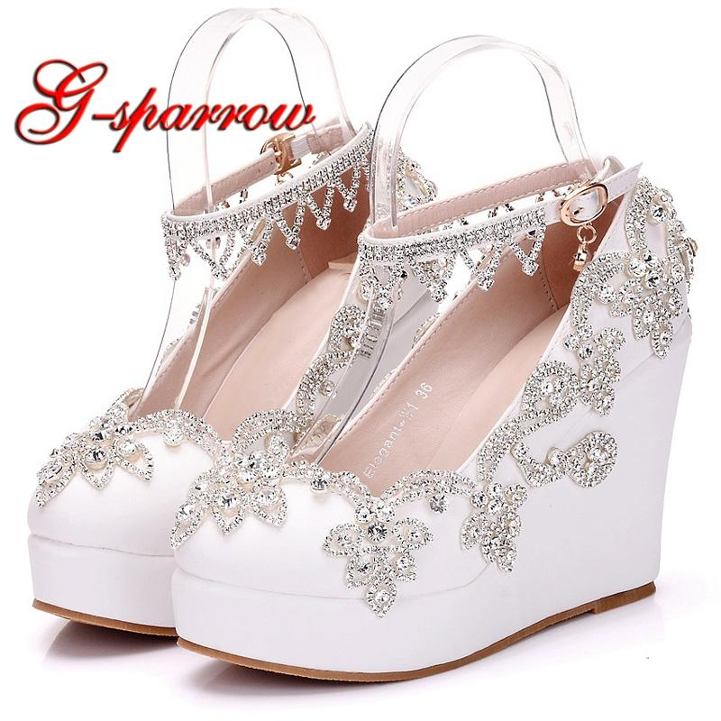 6fb3b613301 2018 New Fashion Silver Rhinestone Wedge Heels White Color Wedding Shoes  Ankle Straps Beautiful Lady Party Prom Heels Plus Size Blue Shoes Shoe  Boots From ...